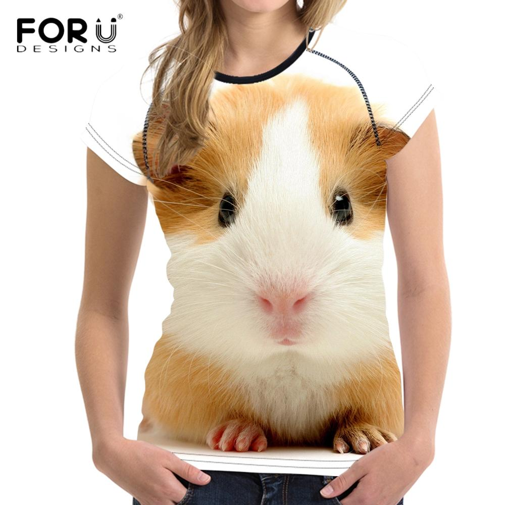FORUDESIGNS 3D animal cobaia bonito Imprimir Mulheres Camiseta White Female T-shirt Casual Top manga curta Vestuário Camisetas