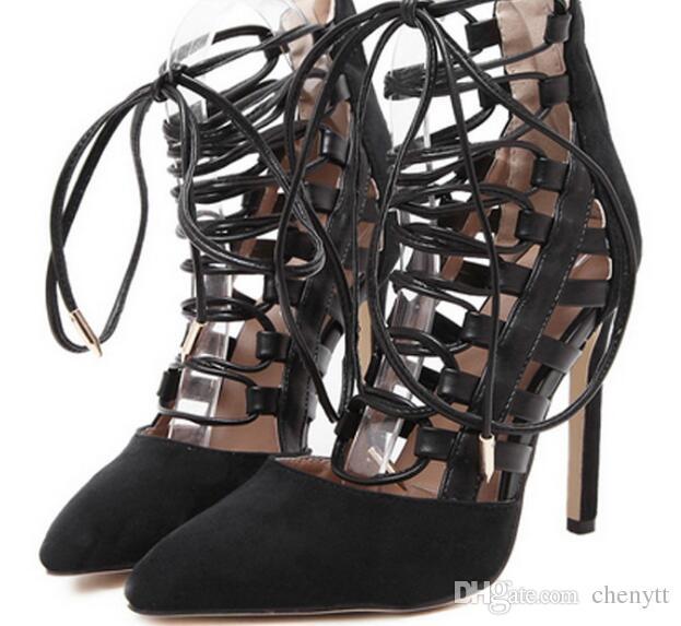 2018 die neueste Mode, europäische Sommerstation, Wildleder, Spitzenbandagen, Sandalen, schneller Verkauf, große Schuhe, Sandalen.