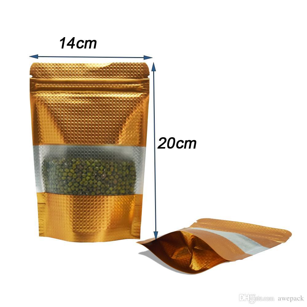 14x20cm Doypack impressi oro Zip Lock Bag 50pcs / Stand Up di alluminio della chiusura lampo Pacchetto con libera opaca finestra di plastica