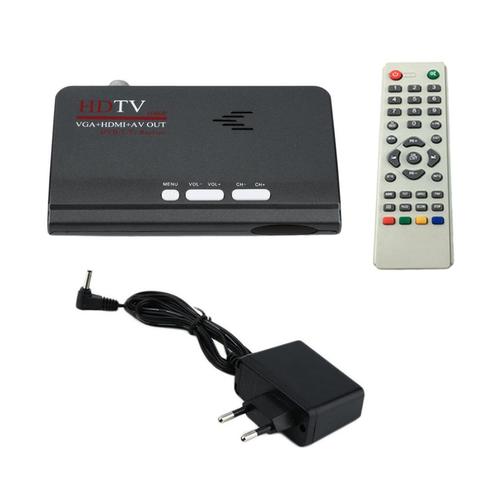 Freeshipping Digitale Terrestre HDMI 1080 P DVB-T / T2 Ricevitore TV VGA AV CVBS Tuner Ontvanger Met Afstandsbediening HDMI HD 1080 P VGA