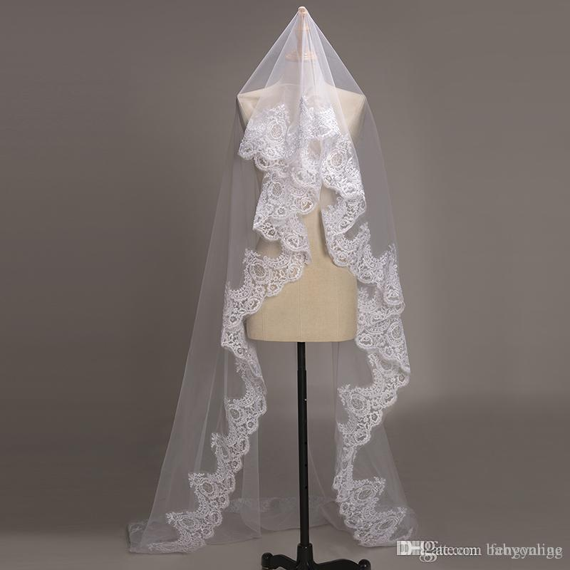 3 متر طبقة واحدة الأبيض العاج الزفاف الحجاب حافة الدانتيل الزفاف الحجاب النساء اكسسوارات الزفاف catherdal الزفاف الحجاب طويل مع كومب