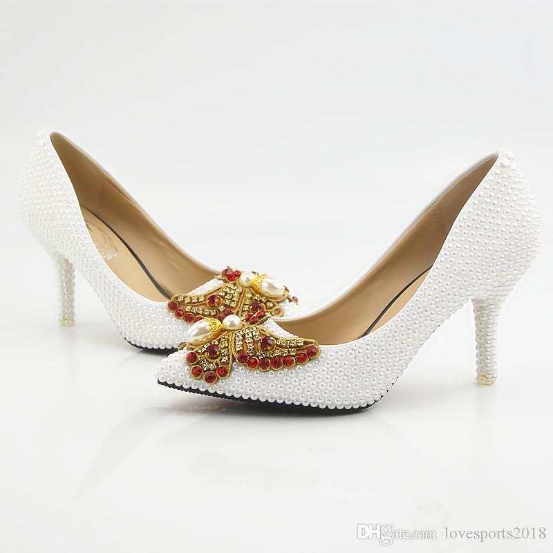 New Beautiful white pearls Women Pumps A punta Bowtie Crystal Shoes Scarpe fatte a mano Lady Heels Plus Size