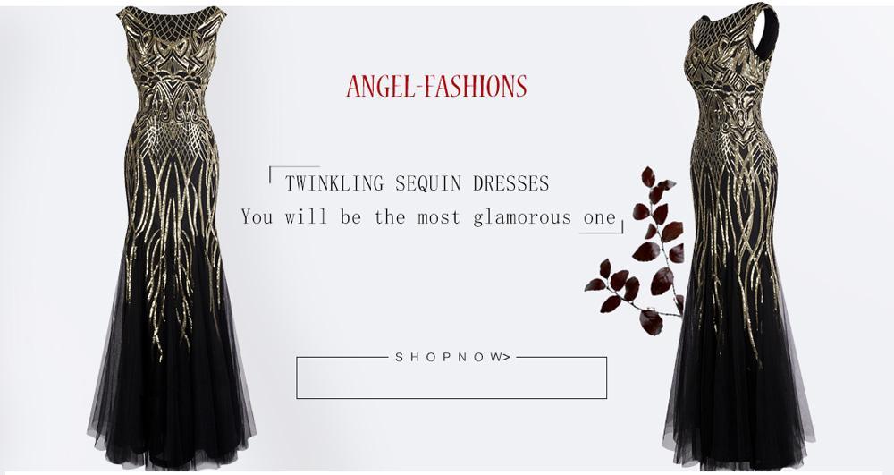 Angel-fashions Da Donna Modello Lustrino Bateau cap Sleeve Falda Sirena Abito da Sera