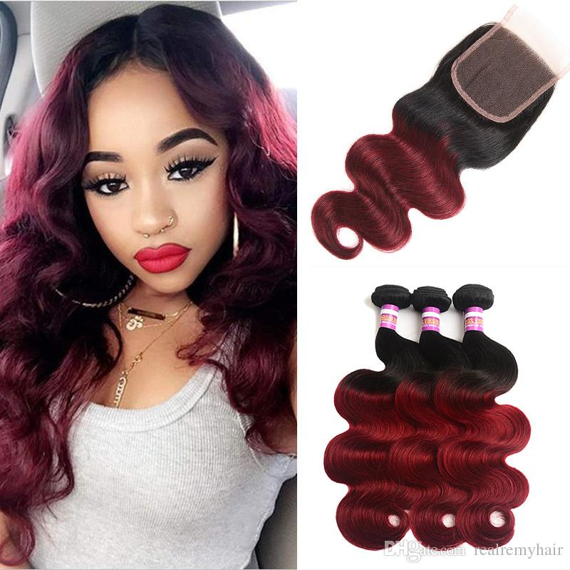 Brazilian Body Wave Remy Human Hair 3 Bundle With Closure Ombre Burgundy 1B/99# Human Hair Extensions Two Tone Virgin Hair Vendors
