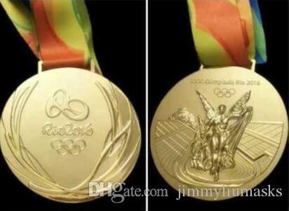Rio 2016 Oro olimpico / Argento / Medaglie in bronzo / Nastri Set completo con nastri in seta Diametro 85mm Peso netto 210g Nuovo
