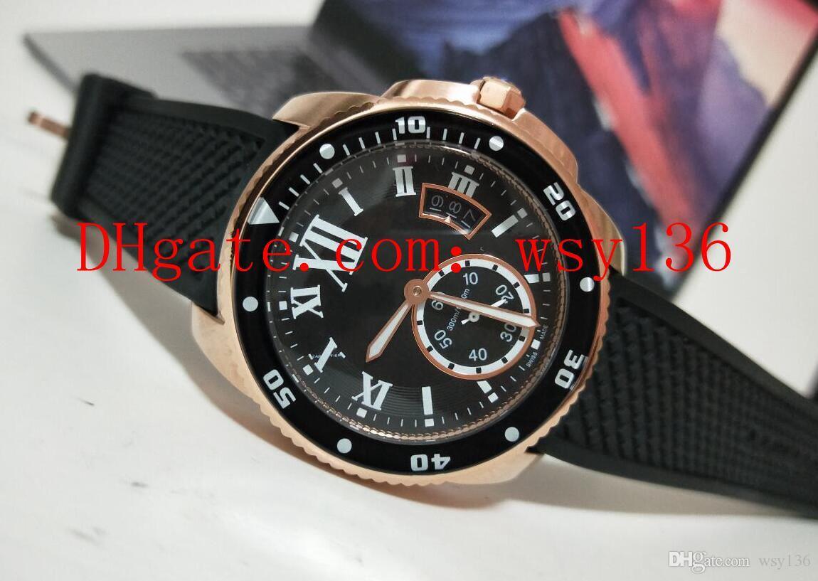 Vendedor caliente Calibre De Diver W2CA0004 Reloj mecánico automático para hombre Reloj de oro rosa para hombre negro Reloj transparente Volver