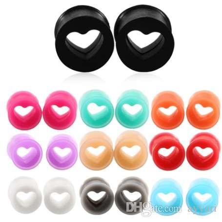 ÇIFTI Silikon Hollow Kalp Şekli Kulak Tünel Fiş Göstergeleri Karışık Renkler Kulak Sedye Genişletici Piercing Moda Takı 4mm-25mm