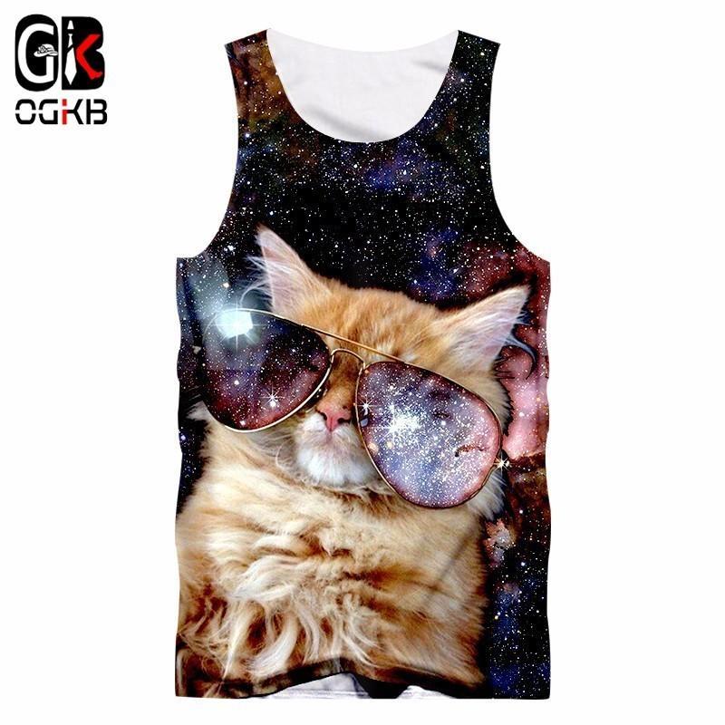 2018 Gyms Clothes Women/men Cool Print Galaxy Space 3d Tank Top Cat Singlets Unisex Bodybuilding Fitness Sleeveless Tee Shirt