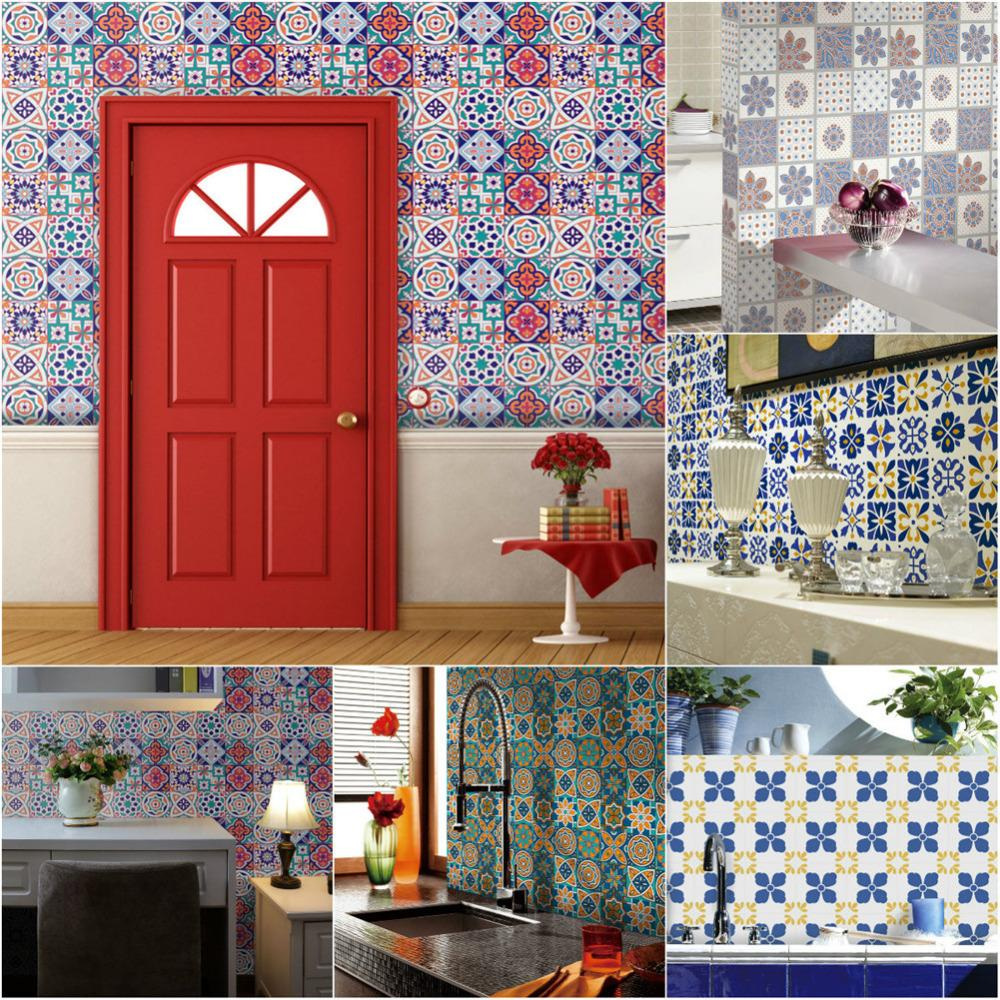 0.2x5m Multi Pattern Retro Cabinets Tile Stickers PVC Bathroom Kitchen Waterproof Wall Sticker Home Decor Self Adhesive Decals