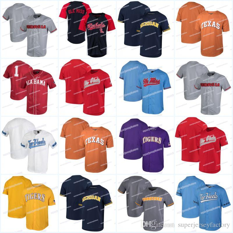 Los hombres de Ole Miss Rebels Tennessee Volunteers de Texas Longhorns Georgia Bulldogs Alabama Crimson Nk Rendimiento jerseys de béisbol