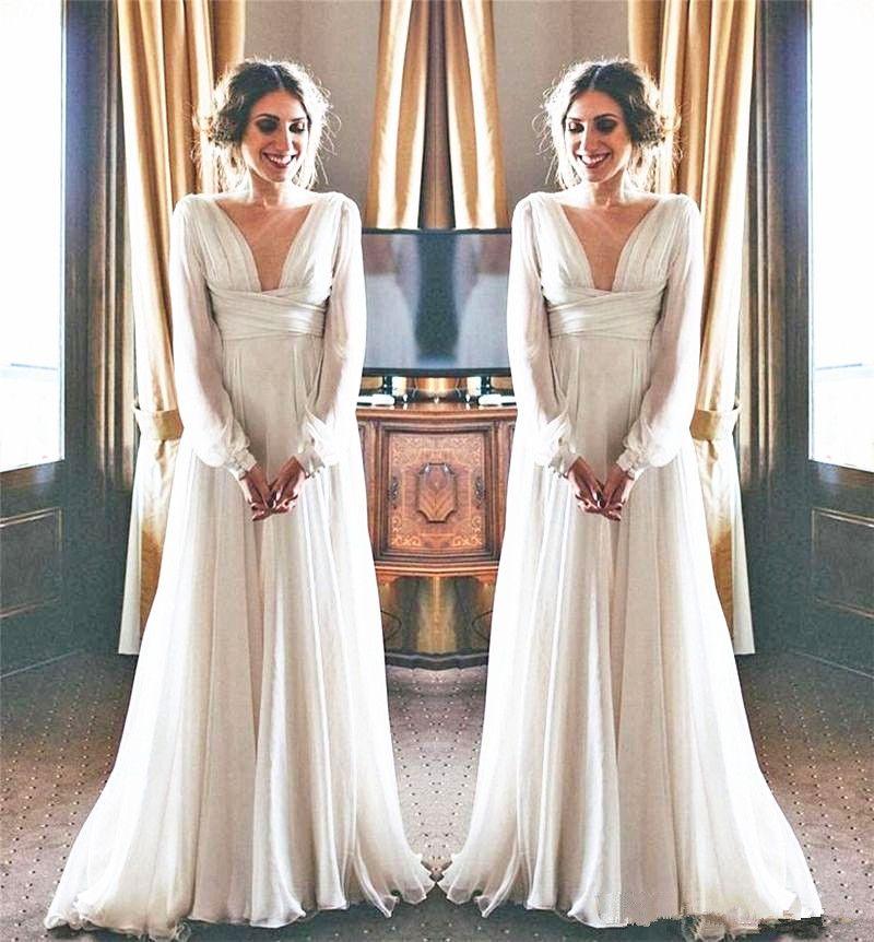 Déesse Grecque Style Robe De Mariée à Manches Longues Col Profond Col En V Qui Mousseline De Soie Longueur De Plancher Gracieuse Robes De Mariée Robes
