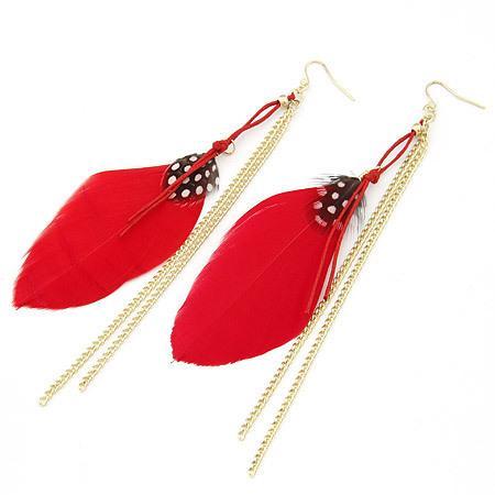 Alloy Fashion Personality Elegant Feather Tassels Pendeloque Cut Earrings Earring Jewelry Ornaments