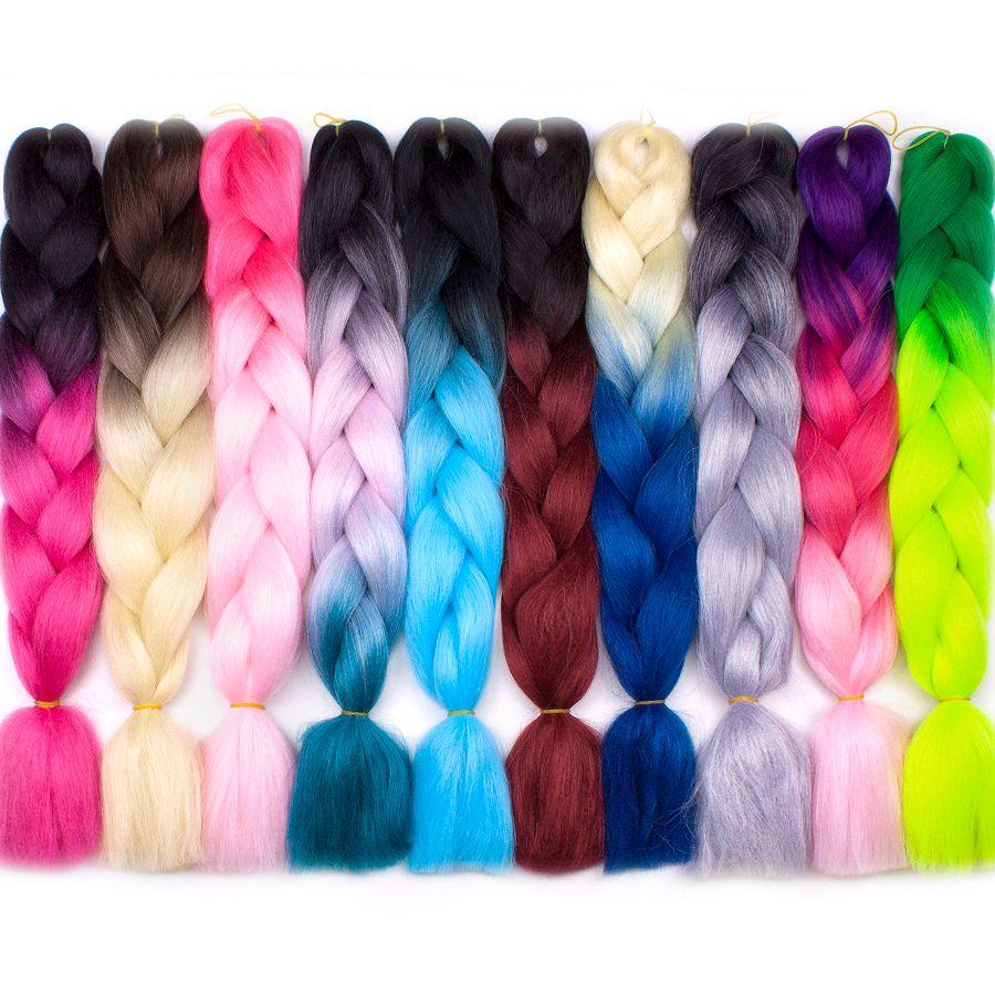 Ombre Kanekalon intrecciare le estensioni dei capelli 24 pollici 100 g / pacco lungo trecce jumbo Crochet capelli Bulk viola rosa grigio blu rosso estensioni dei capelli