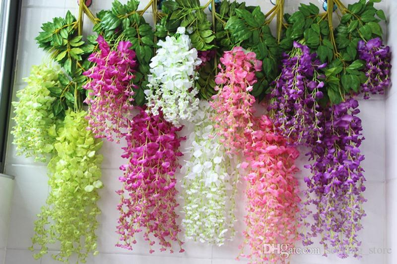 Wholesale Wisteria Wedding Decorative Flowers 110cm 75cm Real Touch Flower 9 colors Artificial Fake Flowers For Party Wall Home Decoration