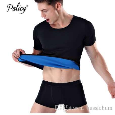 Palicy Men 's 슬리밍 바디 셰이퍼 네오프렌 사우나 슈트 섹시한 바디 슈트 Fajas 허리 트레이너 Shapewear 남성 티셔츠 플러스 S-3XL 사이즈