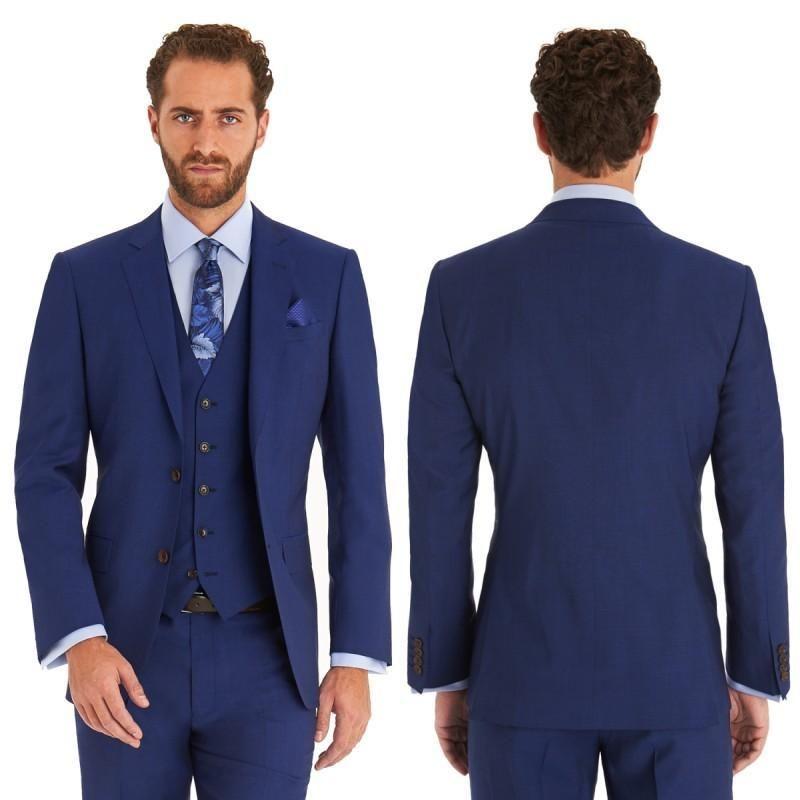 High Quality Custom Navy Blue Men Suit Wedding Handsome Groom Suit Tuxedos Grey Slim Fit Mens Blazer Business Prom 3 Piece Jacket+Pants+Vest