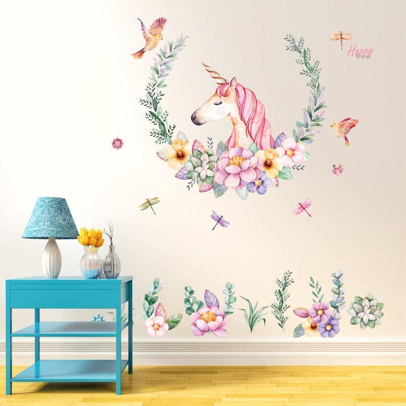 Babelin crayones unicornio pegatinas Habitación Sala Sofá decorativo del fondo del papel pintado de PVC de pared desmontable
