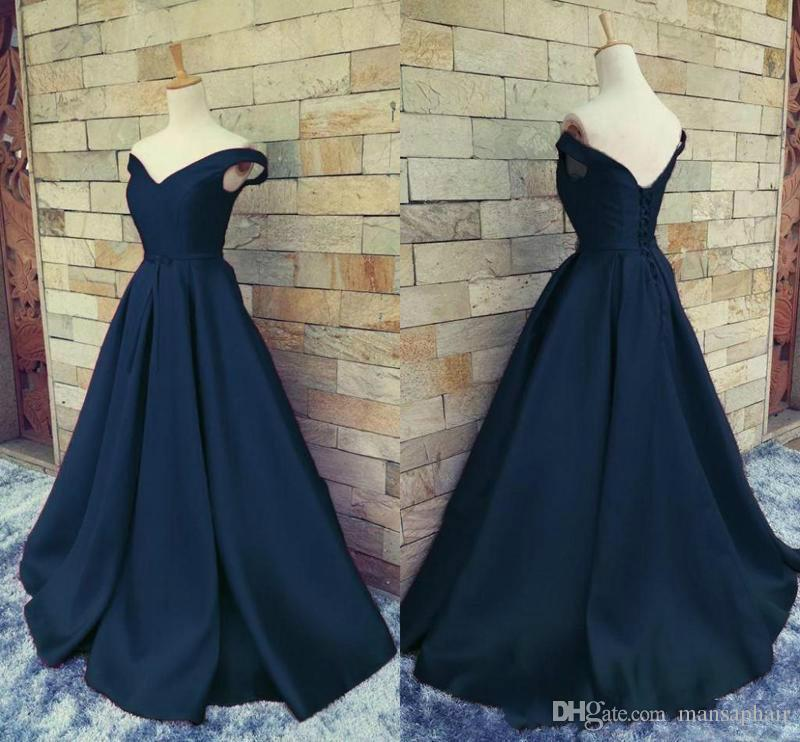 Real Image Prom Dresses Navy Blue Cheap 2018 Off Shoulder V Neck Ruched Satin Floor Length Corset Lace Up Backless Homecoming Party Dresses