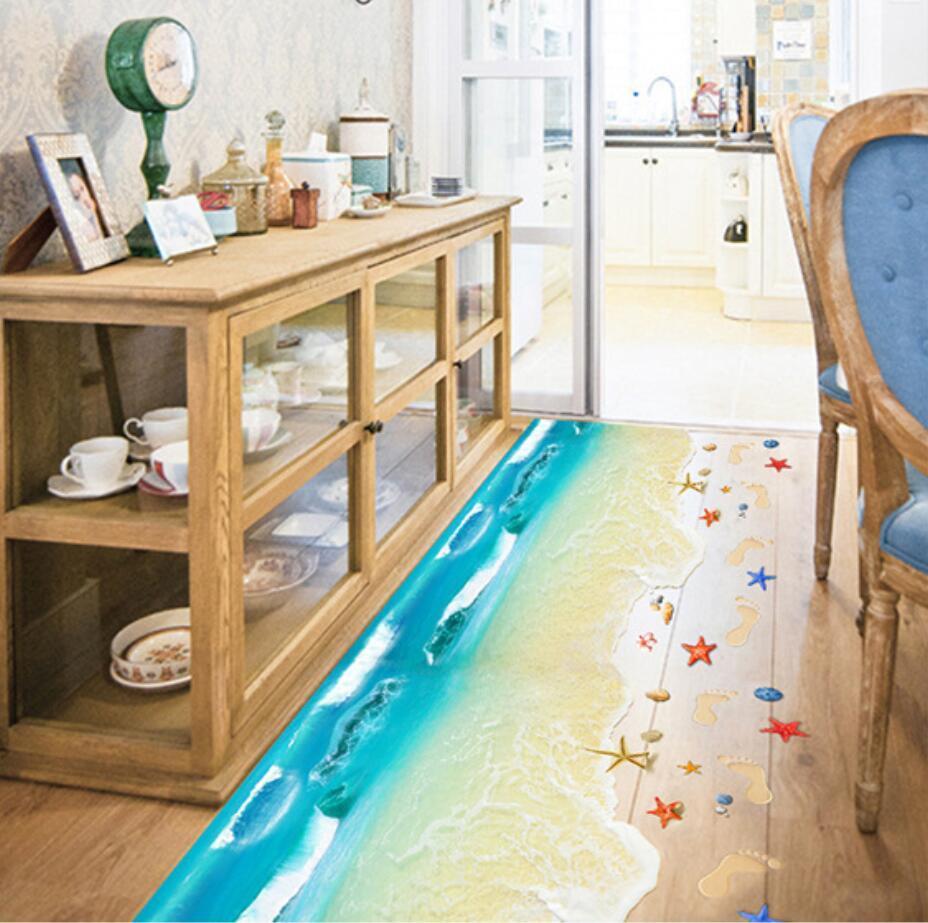 2017 Top Selling Creative 3D Wall Stickers Starfish Footprint Beach Bathroom Floor Sticker Sea Vinilos Paredes Kids Poster WT171