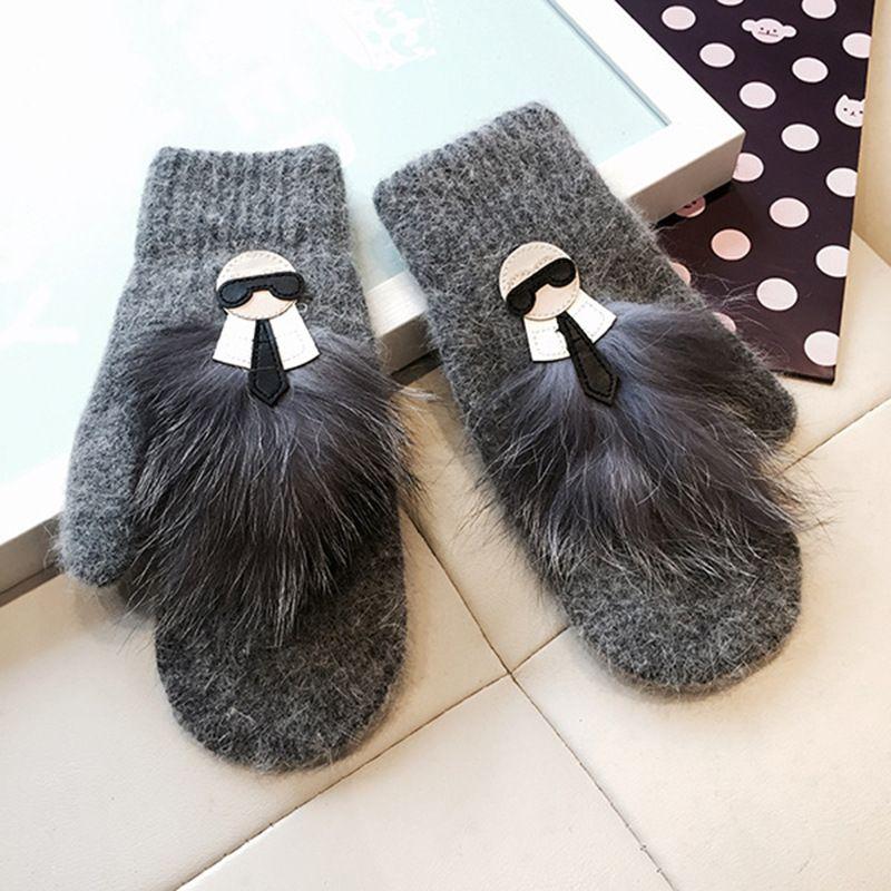 Winter Warm Mittens Glove Women Men Lady Real Rabbit Fur Wool Cute Cartoon Pattern Knitted Gloves Christmas Gifts Fashion 15ml bb