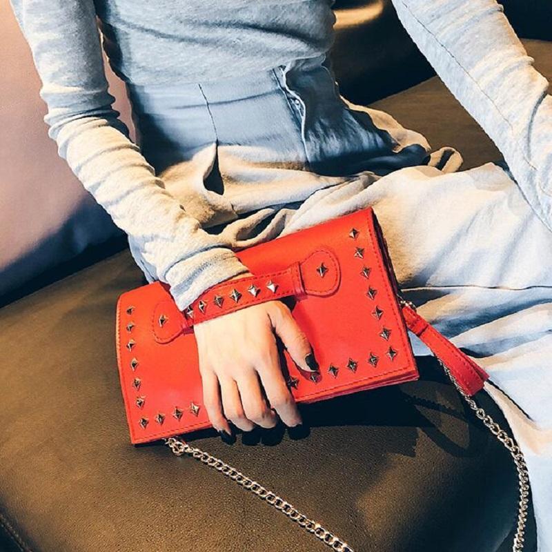 Çanta Perçin Kırmızı Günlük Çanta Debriyaj Debriyaj Deri Kalite Damızlık Çanta Kadın Kadın Çantalar ve 2018 Akşam Motch Kadın Novve