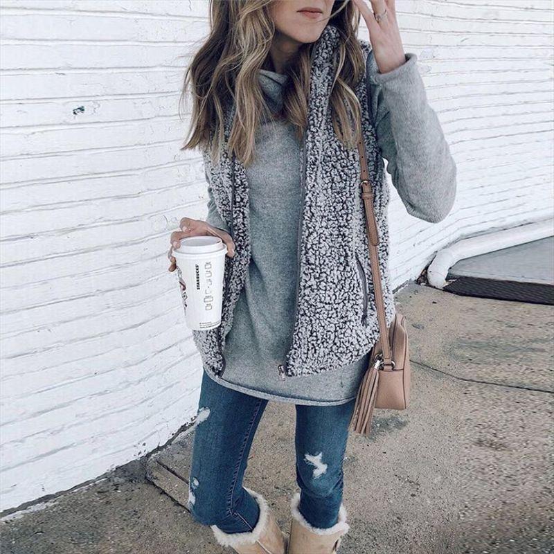 여성 캐주얼 재킷 2018 DHL 여자 카디건 겉옷 패션 가짜 Sherpa 따뜻한 양털 코트 경량 가을 따뜻한 지퍼 조끼 포켓