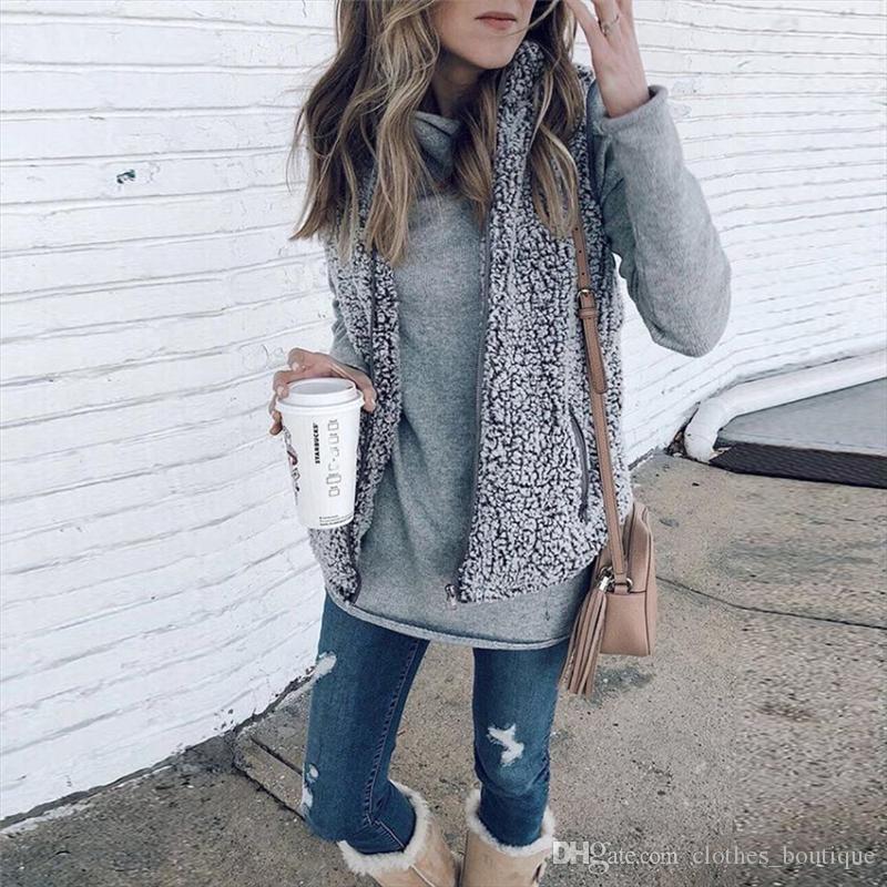 المرأة عارضة سترة 2018 dhl إمرأة سترة قميص أزياء فو شيربا الدافئة الصوف معطف خفيفة الخريف الدافئة سستة سترة مع جيوب