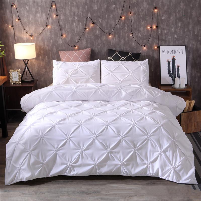 Bianco copripiumino Pinch Pleat 2 / 3pcs Due posti / regina / re Size Bedding Biancheria Casa Albergo Usa (senza riempire nessun foglio) 38