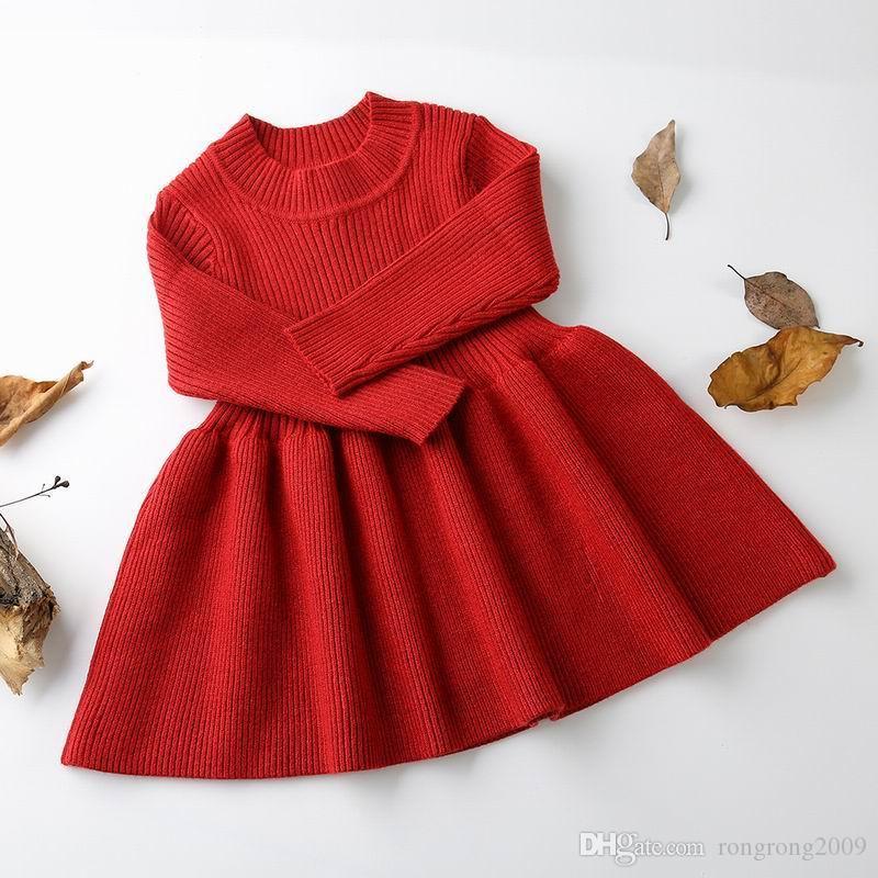 Détail Automne Nouveau Bébé Fille Robe Solide Couleur Tricoté Coton À Manches Longues Chandail Chaud Robe Enfants Vêtements 0-3 Ans FY001