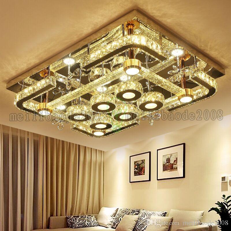 Modern Simple Creative Rectangular Bubble Column LED Flower Crystal Ceiling Lamps For Living Room Bedroom Restaurant Hotel Villas Bar