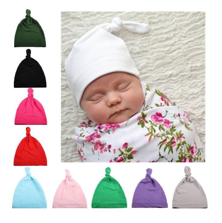 아기 모자 코 튼 탑 매듭 아기 모자 소녀와 소년을위한 겨울 가을 겨울 어린이 모자 17 색