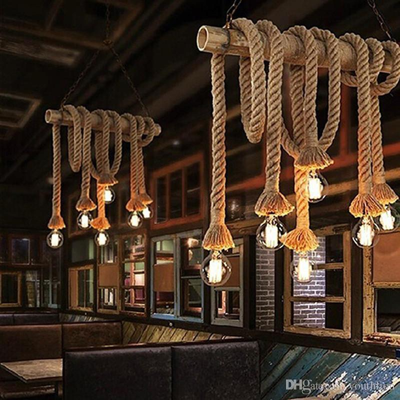 Vintage Rustic Hemp Rope Creative Hanging Lights Wiring for Living Room Bar Pendant Public Places Romantic Home Decoration