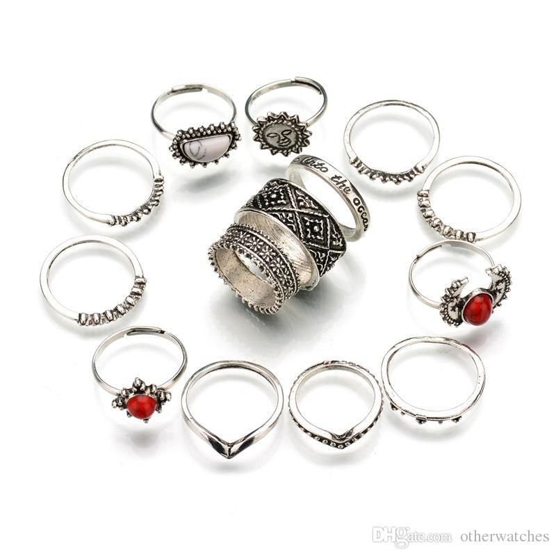 Кольца с резьбой в стиле ретро, серебро, 14 комплектов из красных и белых сосновых камней