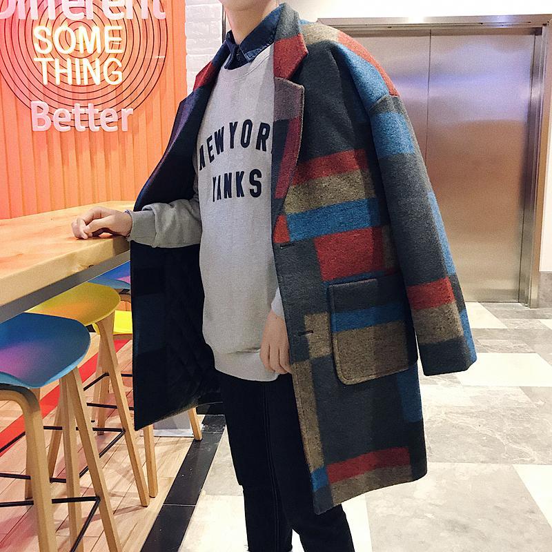 2017 de invierno nuevos hombres del enrejado largas de la moda de lana Mezclas espese el algodón rompevientos abrigo de lana de cachemira capa de la chaqueta masculina S-XL