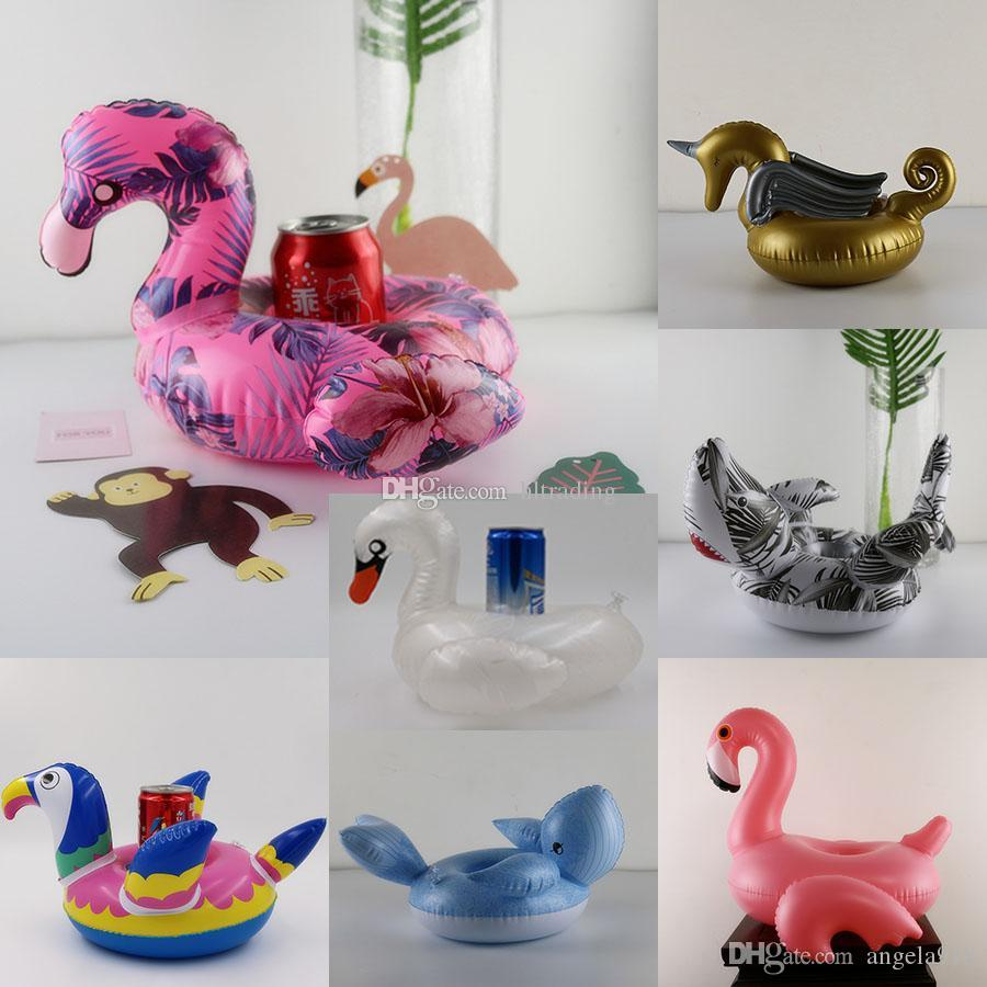 Inflatable Flamingos Whale unicorn swan Parrot Shark Drink Holders Pool Float Cup Holder Swimming Ring Mattress Beach Pool Party Toys C4433
