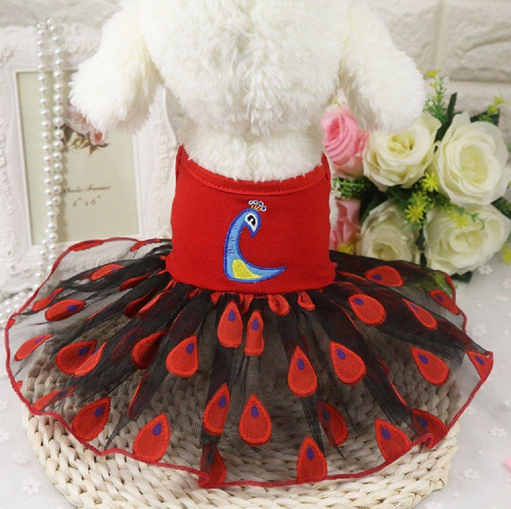 2018 Fashion Sweet Puppy Dog Love Printed Princess Peacock Skirt Pet Dog Lace Cake Camisole Tutu Dress Summer Autumn Winter Pet Coat