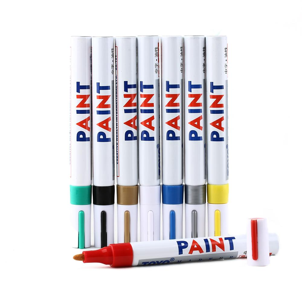 2019 Colourful Paint Marker Pen Tire Rubber Metal Glass Wood Stone Waterproof Oil Pen Stationery Office Supplies From Alihash2014 1 89 Dhgate Com