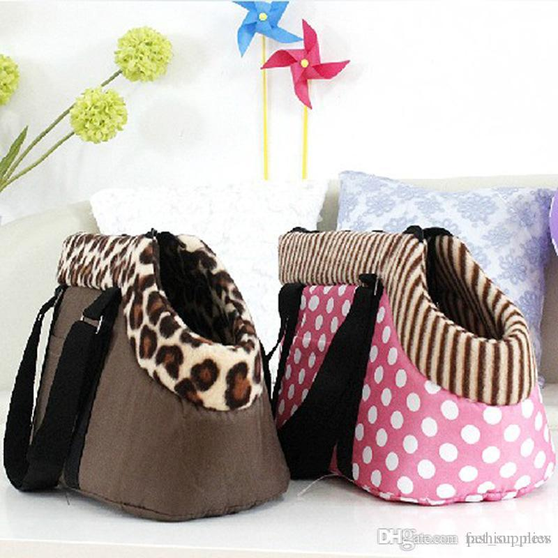 S Black Leopard Polka Dots Portable Pet Dog Cat Travel Carrier Carry Bag Tote Luggage Bag Breathable Pet Dog Puppy Handbag Outdoor Bag