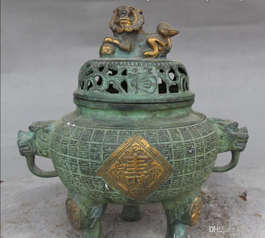 Old Chinese Bronze Gilt Lion lion beast Incensory Incense Burner Censer Statue
