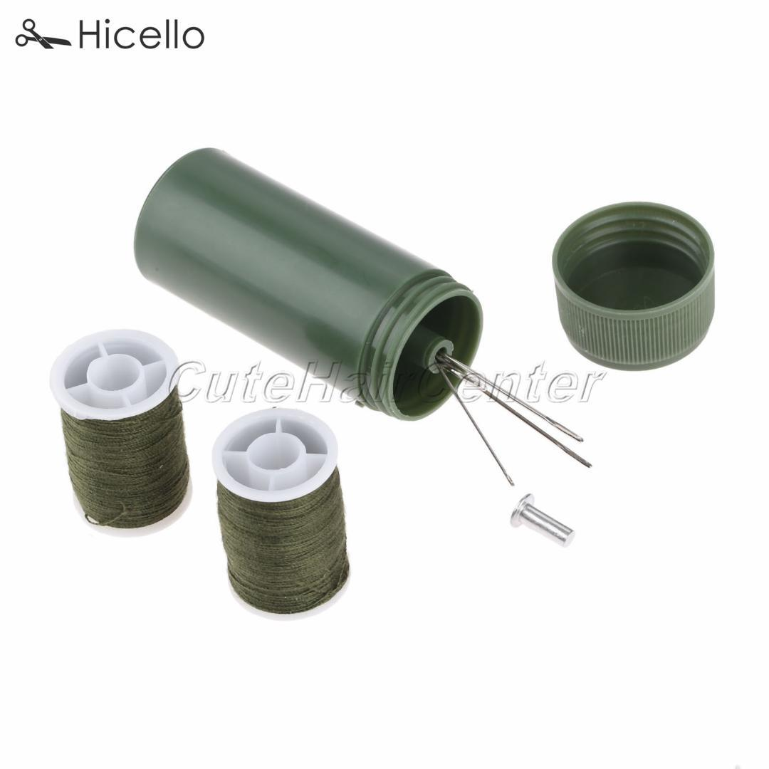 Mini Sewing kit Cylinder case Portable Travel with threads Needles Craft Sewing box set Army Green Hicello