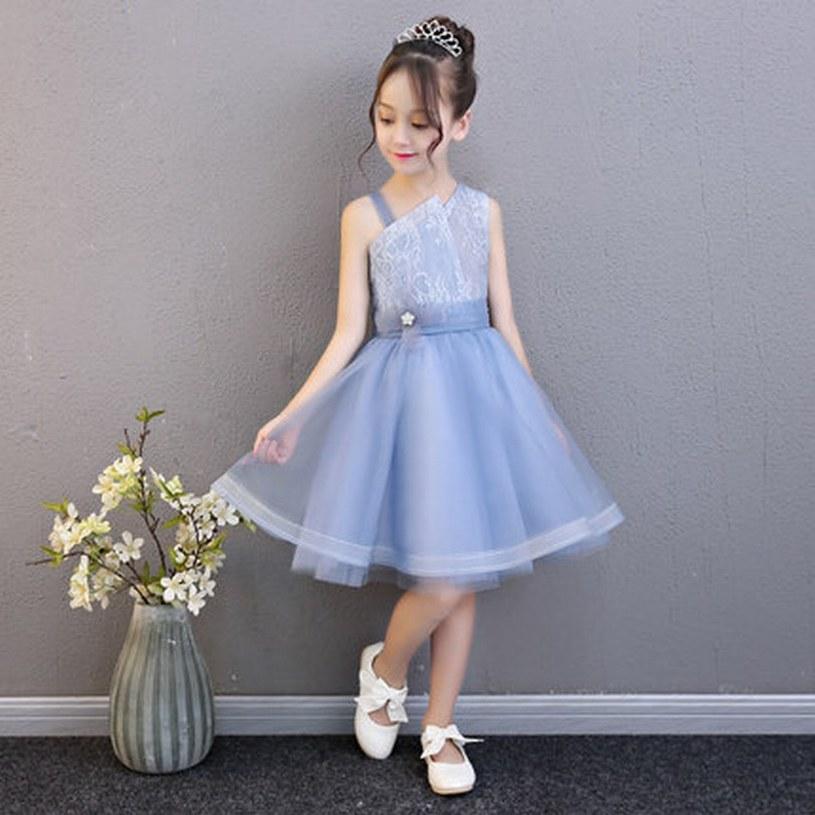 New Charming Azzurro Principessa Pageant Flower Girl Dress Bambini Prom Party Compleanno Tutu Bambini Abito GNA3