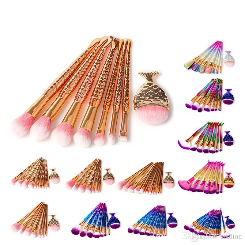 Professionelle meerjungfrau make-up pinsel 8 stück make-up pinsel set glitter diamant bilden pinsel für kosmetik pinsel tool kit dhl frei