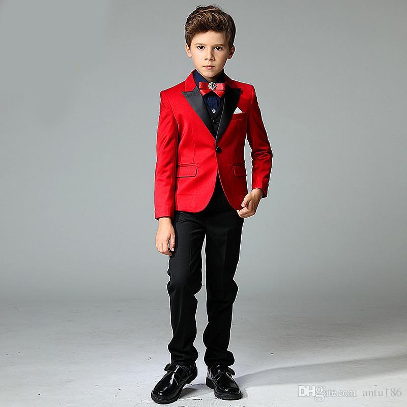 Kırmızı boy yakışıklı takım elbise erkek moda takım elbise üç parçalı takım elbise (ceket + pantolon + yelek) boy balo parti resmi elbise