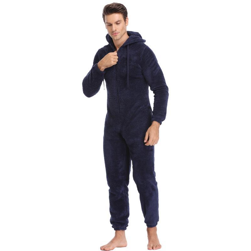 Uomo Fluffy Fleece Pigiama Set da uomo Autunno Inverno Pigiama Tinta unita Homewear Elastico Vestito da casa Pigiama con cappuccio Set per uomo adulto