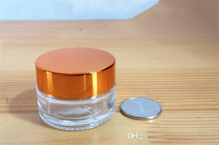 Top quality 5g eye cream bottle for makeup cosmetic usage sub-package portable travel glass jar with alumite golden lid