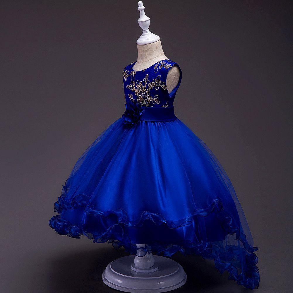 Emprie bodenlangen Mädchen Kleider Bling Pailletten Blumen Mädchen Kleid Prinzessin Ball gewachsen