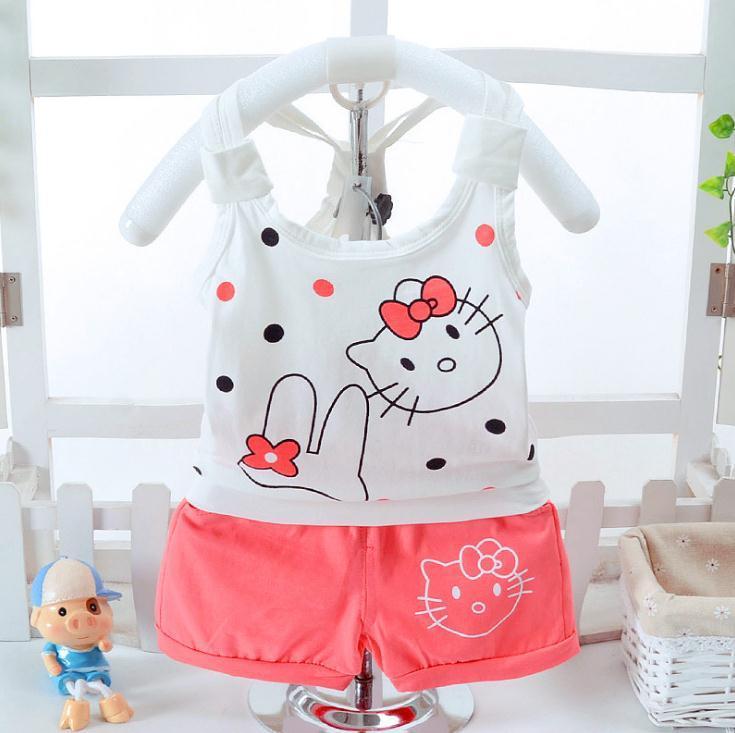 Vestiti delle neonate Vestiti appena nati Cat Litter vestiti della ragazza insieme della tuta 2pcs Maglietta Pantaloncini estate Bambini Outfit 1-4Y