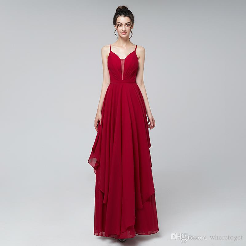 Cheap 2019 Sexy red prom dresses long chic chiffon spaghetti straps floor length formal evening party gowns real picture