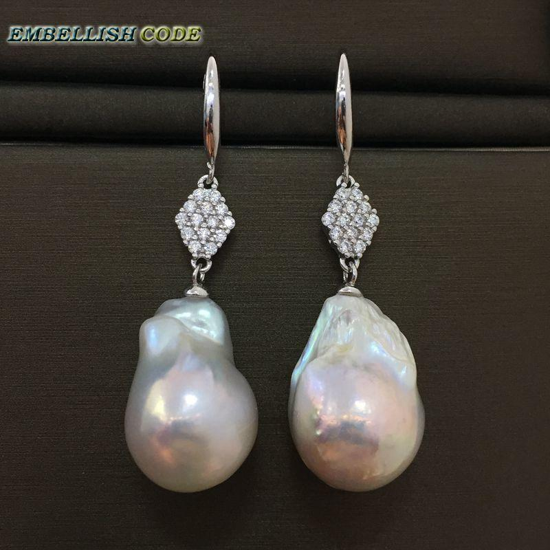 Selling baroque pearls hook zircon style dangle earrings white fire ball tissue nucleated freshwater pearl 925 silver for women C18111901