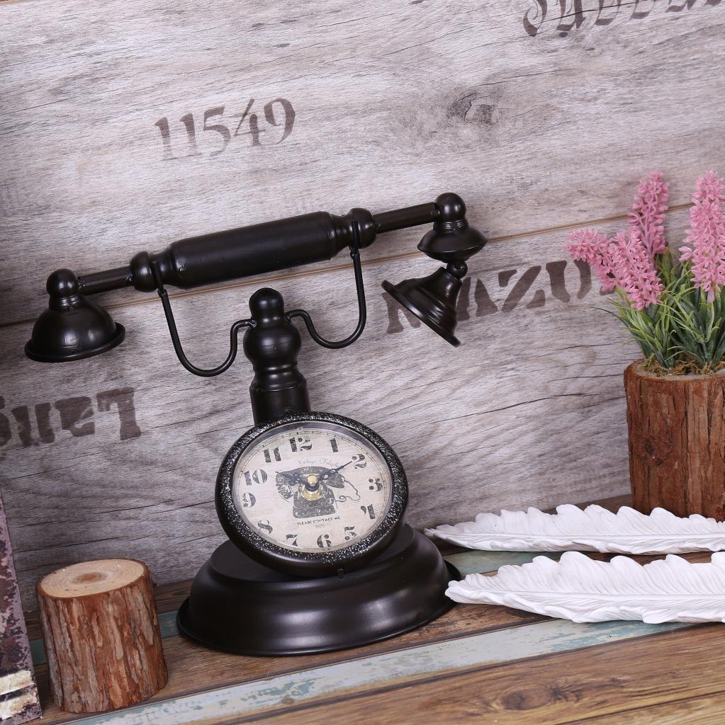 2021 Shabby Chic Retro Telephone Model Vintage Decor Retro Desk Clock Table Clock Bar Cafe Crafts Decoration From Meetamo 50 77 Dhgate Com